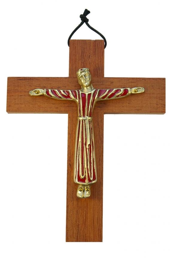 Christ en robe, d'inspiration romane – bronze émaillé sur croix murale en bois haute de 19 cm