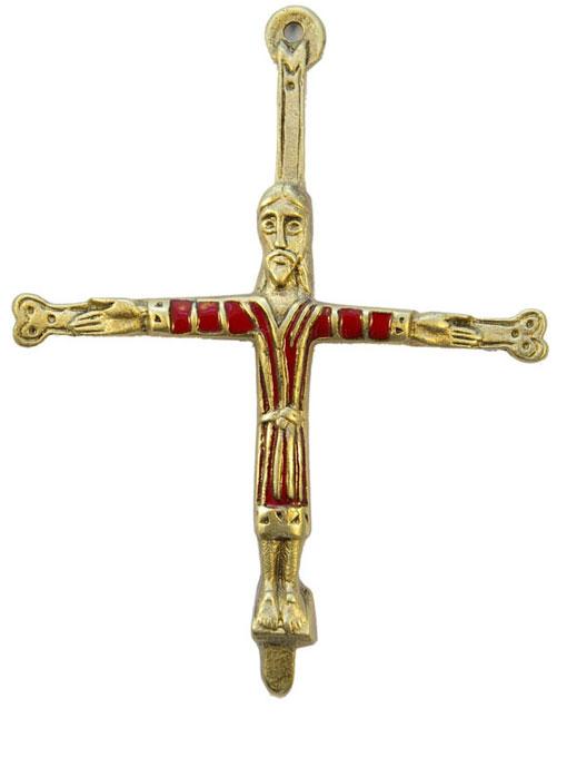 Croix en bronze émaillé – Christ de Saint-Michel d'Aiguilhe, le Puy-en-Velay, chemin de Saint-Jacques – 935 rouge