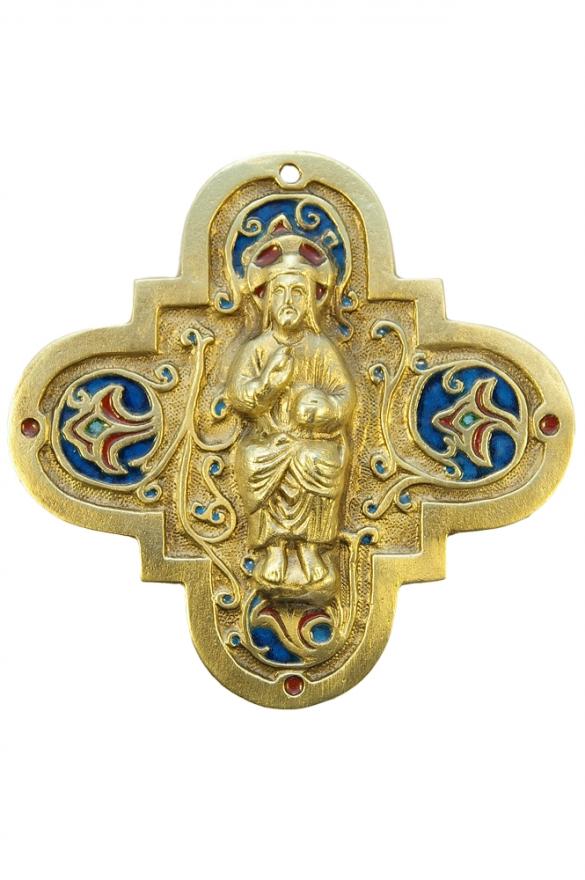 Christ en majesté dit «Salvator mundi» Sauveur du monde – bronze et émaux grand feu