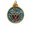 Médaillon double Coeurs vendéens couronnés. Bronze véritable et émaux grand feu.