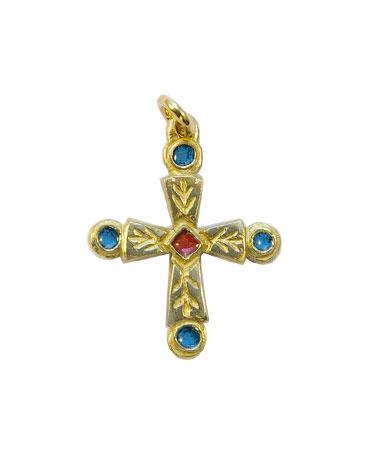 0192-Croix-pommelee-cabochons-bleus-pendentif