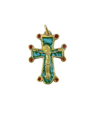 0197-pendentif-bijou-croix-Christ-cadeau-bapteme-vert-3-2-cm