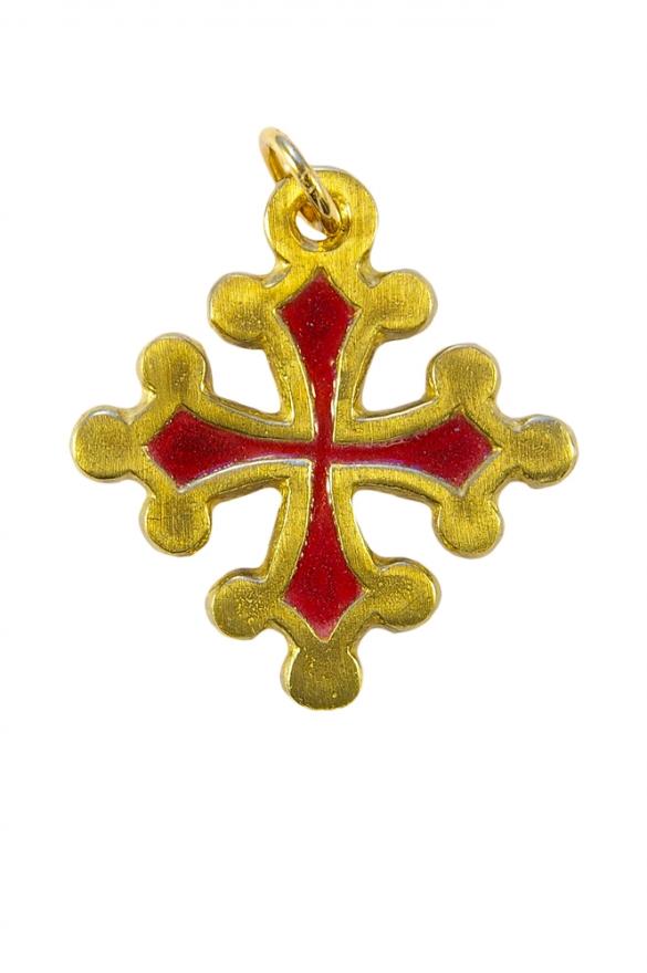 Croix Occitane, dite aussi croix de Toulouse, ou croix du Languedoc, en bronze massif décoré d'émaux grand feu.