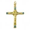 Crucifix d'inspiration médiévale - bijou en bronze et émaux bleus.
