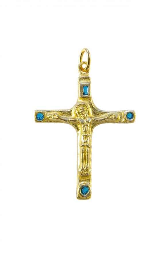Crucifix d'inspiration médiévale – bijou en bronze et émaux bleus.