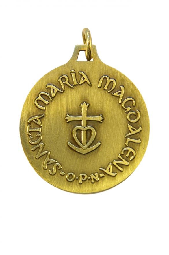Médaille de sainte Marie-Madeleine en bronze ciselé. Revers de la médaille avec la croix camarguaise.