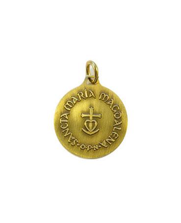 Médaillon de sainte Marie-Madeleine. Petite médaille en bronze de 2,3 cm de haut – le verso avec la croix camarguaise