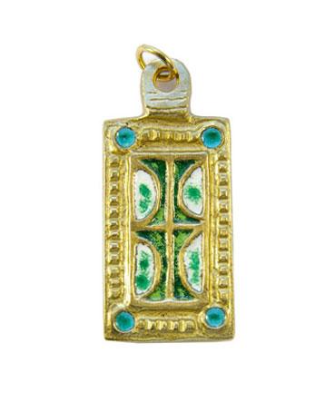 850-Pendentif-emaille-blanc-vert-medieval-5-5cm