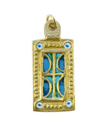 850-Pendentif-emaille-bleu-vert-medieval-5-5cm