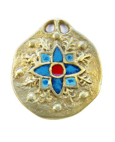860-Medaillon-medieval-edelweis-bleu-5-5cm