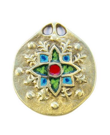 860-Medaillon-medieval-edelweis-vert-5-5cm