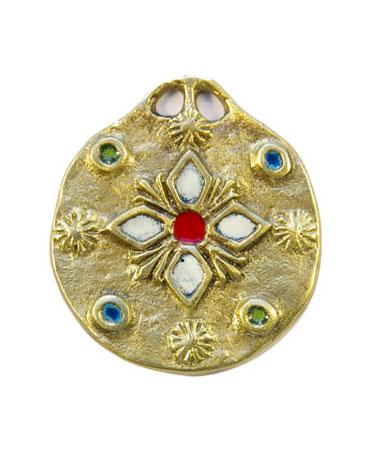 861-bijou-Medaillon-medieval-emaux-fleur-blanche-5-5cm-