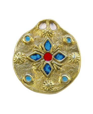 861-bijou-Medaillon-medieval-emaux-fleur-bleue-5-5cm