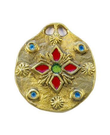 861-bijou-Medaillon-medieval-emaux-fleur-rouge-5-5cm
