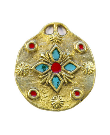 861-bijou-Medaillon-medieval-emaux-fleur-verte-5-5cm