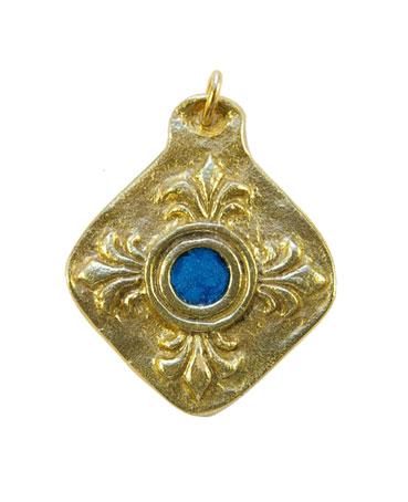 872-bijou-Medaillon-fleur-de-Lys-coeur-bleu-5-5cm
