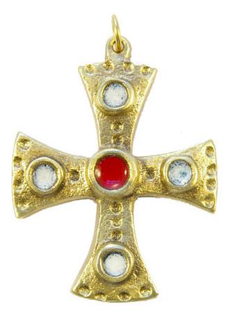 880-bijou-medieval-Croix-pendentif-emaille-coeur-rouge-cabochons-blancs-6-2cm