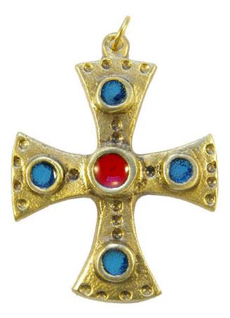 880-bijou-medieval-Croix-pendentif-emaille-coeur-rouge-cabochons-bleu-6-2cm