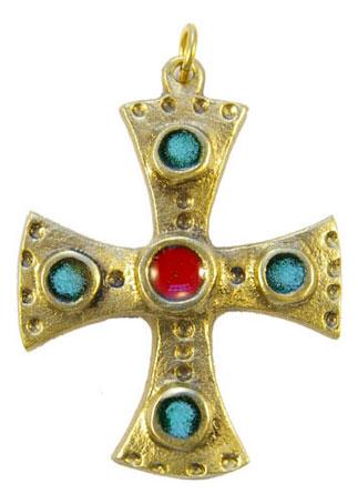 880-bijou-medieval-Croix-pendentif-emaille-coeur-rouge-cabochons-verts-6-2cm