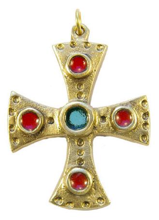 880-bijou-medieval-Croix-pendentif-emaille-coeur-vert-cabochons-rouge-6-2cm