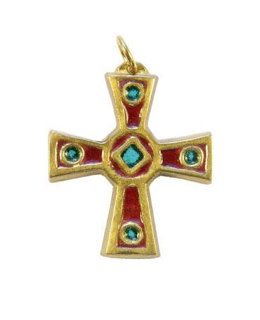 Croix celtique médiévale, bijou en bronze émaillé avec cabochons