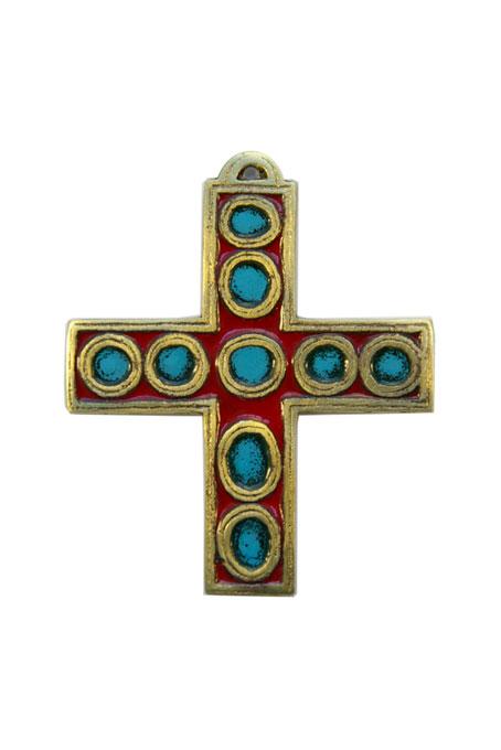 936-Croix-murale-bronze-emaux-rouge-9-5cm