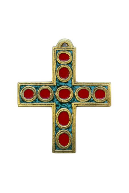 936-Croix-murale-bronze-emaux-vert-9-5cm
