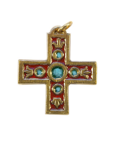 938-bijou-medieval-Croix-pendentif-email-rouge-lys-4-3cm