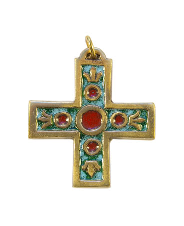938-bijou-medieval-Croix-pendentif-email-vert-lys-4-3cm