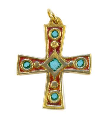 Bijou en pendentif : croix émaillée rouge