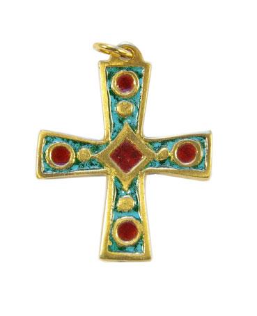 940-Croix-bijou-pendentif-emaille-vert-4-7cm
