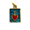Médaille rectangulaire formant comme un petit scapulaire du Sacré Coeur. Pendentif en bronze avec le Sacré Cœur de Jésus surmonté d'une petite croix, en émaux rouge, dans un rectangle émaillé en bleu.