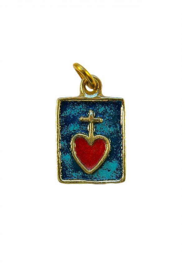 Médaille rectangulaire formant comme un petit scapulaire du Sacré Cœur.