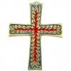 Croix enflammée médiévale en bronze émaillé - symbole du Saint-Esprit