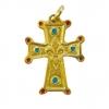 Croix en pendentif fleur de lys avec cabochons en email - 3cm - N50