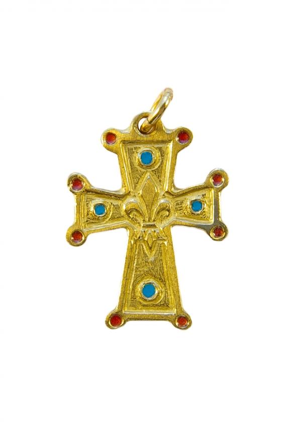 Croix en pendentif : fleur de lys avec cabochons en email – 3cm – N50