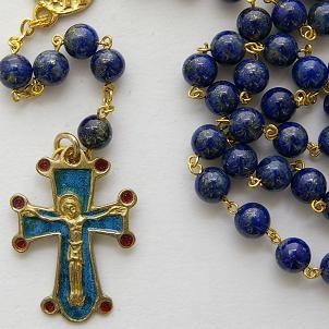Chapelet en lapis-lazuli bleu roi doré.
