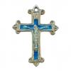 Crucifix en argent, fleudelisé et émaillé en bleu.