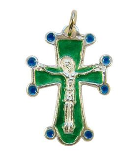 NA0197-Croix-pendentif-crucifix-argent-email-vert-3cm
