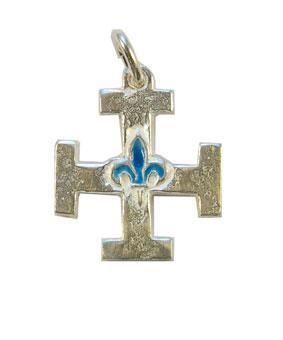 NA0213-Croix-scoute-argent-lys-bleu-2-3cm