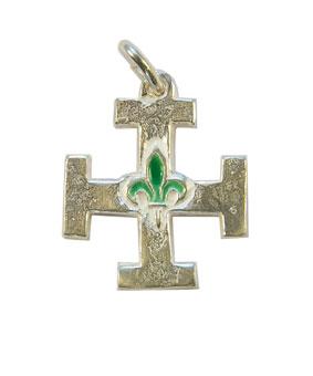 NA0213-Croix-scoute-argent-lys-vert-2-3cm