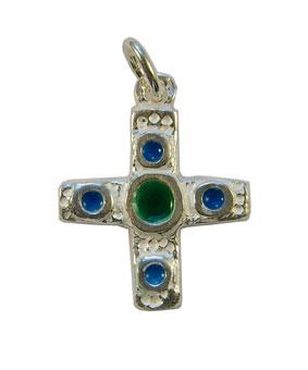 NA0224-Croix-pendentif-argent-cabochon-centre-vert-2-8cm