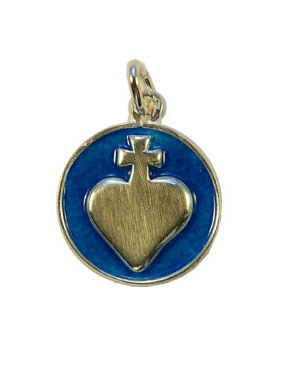 NA163-medaille-ronde-argent-sacre-coeur-relief-email-bleu