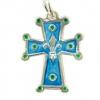 NA50 Croix pendentif fleur de lys en argent émaillé en bleu - 3cm