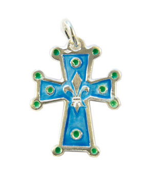NA50 Croix pendentif fleur de lys en argent émaillé en bleu – 3cm