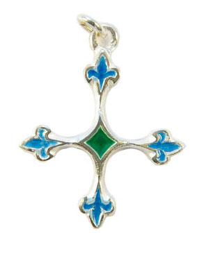 NA56-bijoux-religieux-Croix-fleurdelisee-bleu-argent-3-8-cm