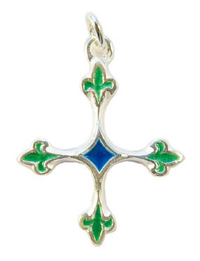 NA56-bijoux-religieux-Croix-fleurdelisee-verte-argent-3-8-cm