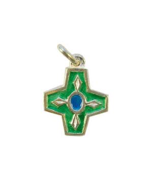 NA73-Croix-argent-bijou-enfant-emaille-vert-2cm
