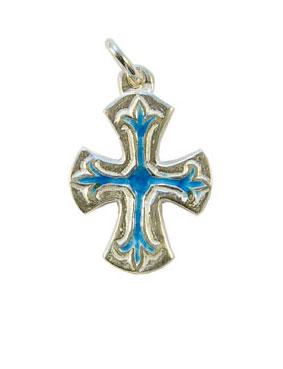 NA74-Petite-croix-fleur-lys-argent-emaux-bleux-Cadeau-communion-2-5cm