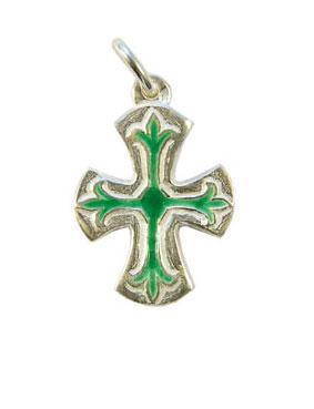 NA74-Petite-croix-fleur-lys-argent-emaux-verts-Cadeau-communion-2-5cm